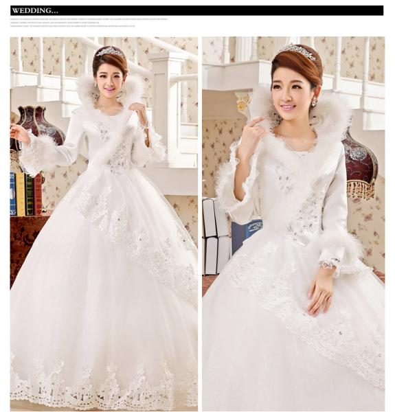 Full back high collared Princess wedding gowns long train womens ...