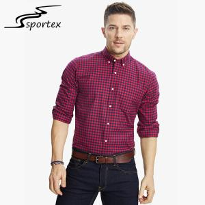 China Checkered Men'S Printed Casual Shirts , Mens Casual Long Sleeve Shirts Slim Fit on sale