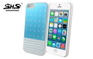 China iPhone 5 / 5S Plastic PC Cover Pasted Metal Apple iphone Protective Cases Different Patterns on sale