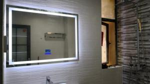 China Hotel Smart LED Bathroom Mirror With Radio Wall Hanging Square Frameless Vanity Mirror on sale