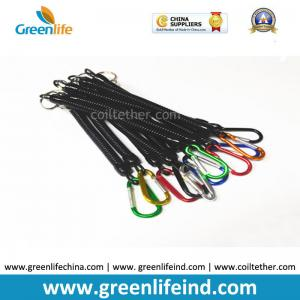 China Plastic Extendable Black Coiled Plier Protecting Coil Lanyard w/Aluminum Carabiners on sale