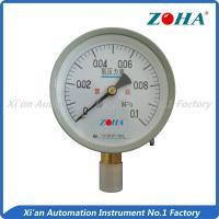 China Aluminum Black Oxygen Pressure Gauge 100mm , No Oils Oxygen Tank Gauge -0.1-0-60MPa on sale