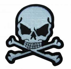 China Twill Fabric Embroidered Patches With Skull And Iron On Backing on sale