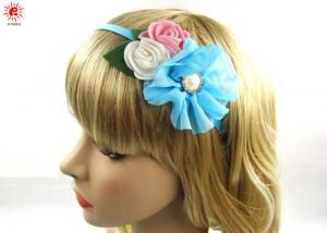 China Beautiful Hair Accessories Blue Metal Flower Girl Hair Bands With Bows on sale