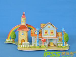 China DIY Fashion Puzzle 3D Model Child Toy Building Rainbow Cabin on sale