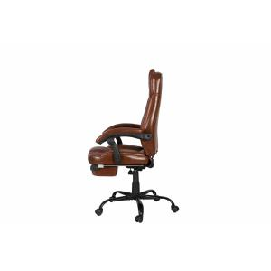 Quality PU Brown Leather Reclining Office Chair With Footrest Retractable Reducing Tension for sale