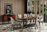 French Luxury Furniture Dining room Tables in glossy painting Ebony wood with Leather Upholstered Chairs and Buffet