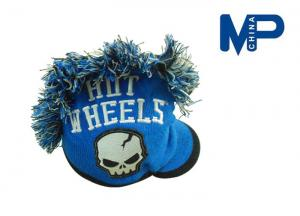 China 100% Acrylic Hut Wheels Knitting Beanie Hat Add Brim with Embroidery Logo on Front on sale