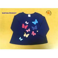 China Round Neck Childrens Long Sleeve T Shirts , Butterfly Screen Print Cool Kids T Shirts on sale