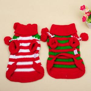 China Christmas Teddy puppia dog clothes Winter Autumn BallBall Turtleneck Sweater on sale