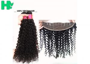 China 100% Human Virgin Hair 13*4 Closure Deep Curly With Baby Hair 8-24 inch on sale