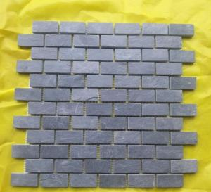 China Natural black slate limestone floor and wall mosaic tiles paving stone mosaics sheets 305x305mm on sale