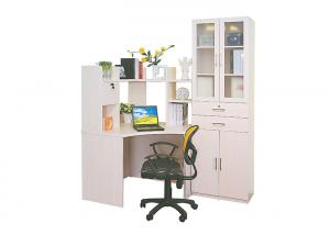 China Corner Solid Wood Computer Desk With Hutch Storage , Wooden Shelf Bookcase on sale