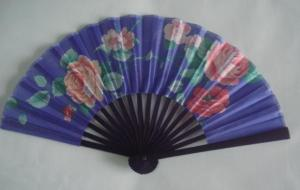 China 21cm Dyed Bamboo Hand Fans / Foldable Fan With Print Silk Fabric on sale