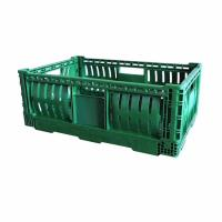 China Fold Storage Baskets Ventilated Plastic Stacking Crates With Customer Logo on sale