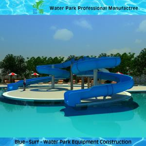 China Fiberglass Swimming Pool Water Slide , Blue Commercial Spiral Water Slide wholesale