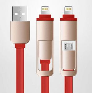 China Micro usb  to micro usb Electric Wire Cable 2 in 1 flat Quick Charge on sale