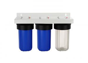 China 10'' big blue  whole house  water filter housings with  blue and clear sump 1'' port on sale