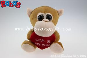 China Valentines Day Gifts Big Eyes Toy Series Brown Monkey Animal With Heart Pillow on sale