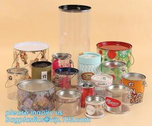 China OEM ODM Accepted 680ml Plastic PET Clear Round Can For Mint Storage,Clear 1 gallon PET paint can & lid with metal handle on sale