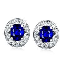 China Sapphire Halo Stud Earrings Round Cut , White Gold And Sapphire Stud Earrings  on sale