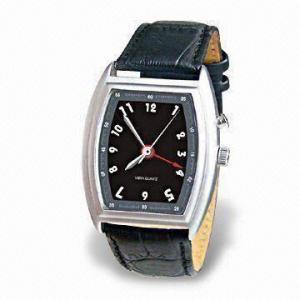 China Reloj vibrante de la alarma del cuarzo con la banda de reloj de cuero durable y el ajuste ajustable del tiempo on sale