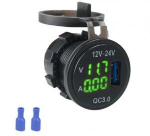 China DC 12V 24V USB Socket LED Digital Display Voltmeter Ammeter Fast QC3.0 Car Charger Voltmeter on sale