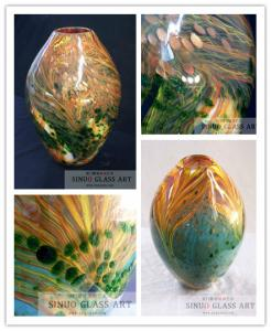 China High Quality Hand Blown Glass Oval Decorative Vases on sale