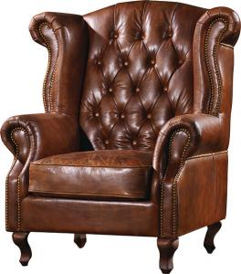 China Durable High Back Leather Armchair Vintage Top Grain Brown Living Room Furniture on sale