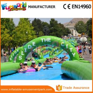 China 1000 Ft Splash City Inflatable Slip N Slide Commercial Grade Fire Retardant on sale