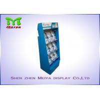 UV coating blue color custom cardboard displays rack with plastic hooks for Mani Pedi