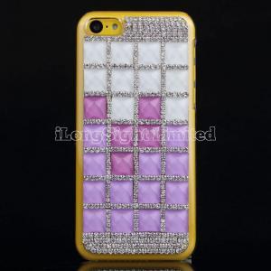 China Square Gem Stone Rhinestone Hard Plastic Case For iPhone 5C on sale