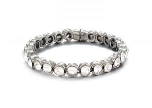 China Silver Costume Jewelry  Womens Tennis Bracelet With Diamonds Champagne Color on sale
