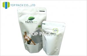 China White Foil Stand Up Pouches Matte Finished Natural Slimming Food Tear Notch on sale