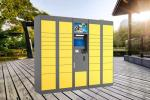 Yellow Color Storage Parcel Delivery Lockers For Bus Station With Touch Screen