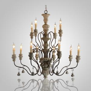 China Gray wood and iron chandelier E14/E14 Socket (WH-CI-14) on sale