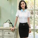 Short Sleeve Ladies Office Dresses / Summer Elegant Waist Tie Round Collar Women Business Dress