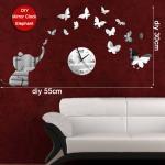 Настенных часов зеркала бабочки дизайн декоративных ДИИ слона уникальный