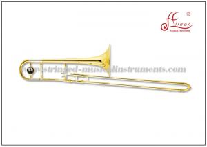 China Brass Musical Instruments Bb Key Gold Lacquer Tenor Trombone With ABS Case on sale