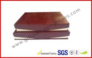 China Leather Magnetic Box Customized Crocodile Leather Paper  Satin Covered Foam on sale