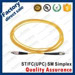st-fc/upc optic fiber patch cords sm g652d simplex black metal connector yellow pvc lszh sheath jacket
