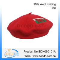 Hot new product for 2015 ladies wool knitted red beret hat