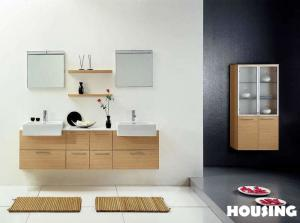 China Plywood Modern Bathroom Cabinets Vanities With Resin Basin on sale