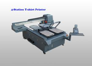 China High Speed 4 Station Flatbed Garment Printer T-Shirt Printing Machine AC220V Power supply on sale