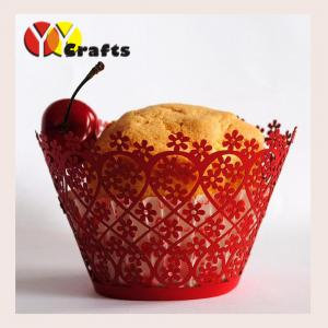 China 5*8*5cm cupcake wrappers pearl paper laser cut decorative cupcake wrappers on sale