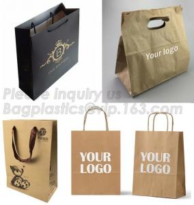 China Customized Red Printed Kraft Paper Shopping Bag with Ribbon Handles and Bowknot,Kraft Paper Shopping Bag with Kinds off on sale