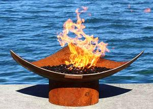 China Corten Steel Modern Fire Bowls Outdoor , Large Metal Fire Pit 50cm Height on sale