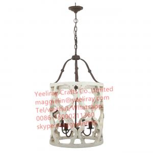 China YL-L1005 wholesale vintage industrial lighting wood lamp Wood chandelier with ULfor interior decoration on sale