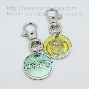 China Glass enamel metal coin key tags, glass enamel supermarket trolley coin holders, on sale