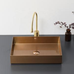 China European Design Rose Gold Stainless Steel Wash Basin Toilet Sink for Bathroom on sale